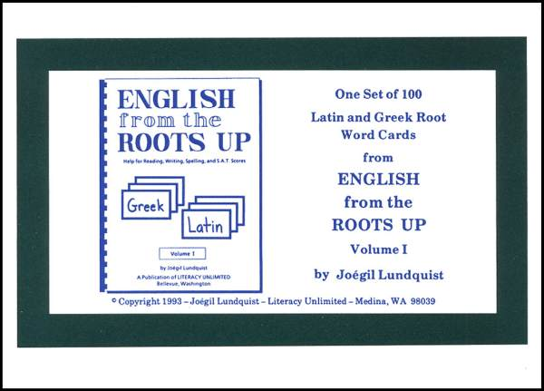 English from the Roots Up Volume 1 Word Cards (Used-Good) - Little Green Schoolhouse Books