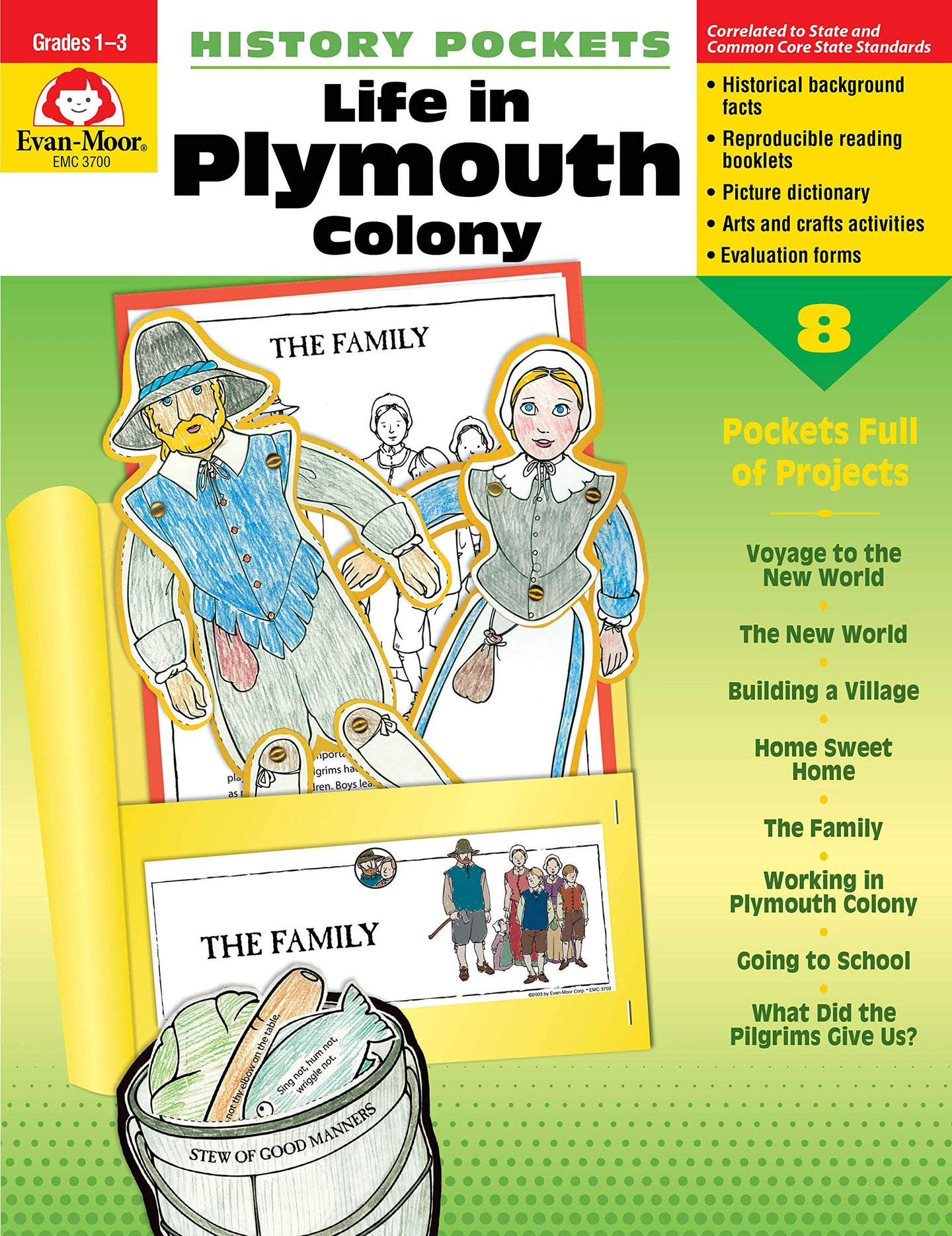History Pockets: Life in Plymouth Colony, Grades 1-3 - (Used-Like New) - Little Green Schoolhouse Books