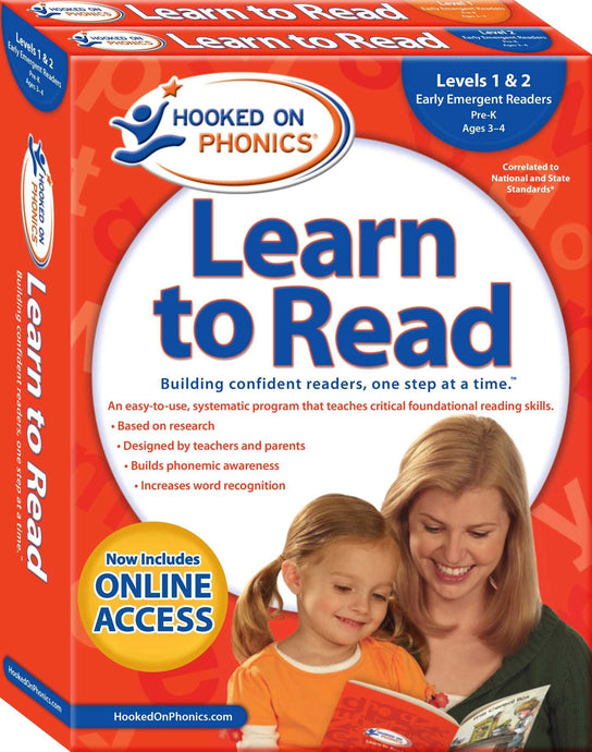 Hooked on Phonics Learn to Read - Levels 1&2 Complete: Early Emergent Readers (Pre-K | Ages 3-4) (Learn to Read Complete Sets) (Used) - Little Green Schoolhouse Books