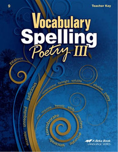 Abeka Vocabulary, Spelling, & Poetry III Teacher Key (used-like new) - Little Green Schoolhouse Books