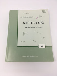 Spelling By Sound and Structure 4 Teacher's Manual (prev edit) (Used - good) - Little Green Schoolhouse Books