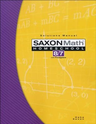 Saxon Math 8/7(Prealgebra), 3rd Edition, Solutions Manual (Used- good)