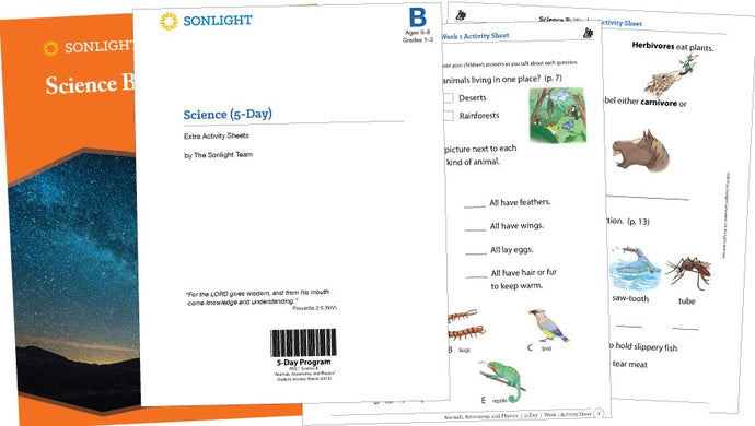 Sonlight Science B Extra Activity Sheets - Animals, Astronomy, and Physics (2016 Version) (New)