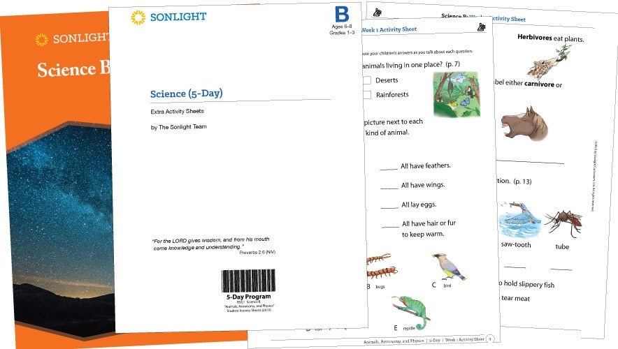 Sonlight Science B Extra Activity Sheets - Animals, Astronomy, and Physics (2016 Version) (New) - Little Green Schoolhouse Books