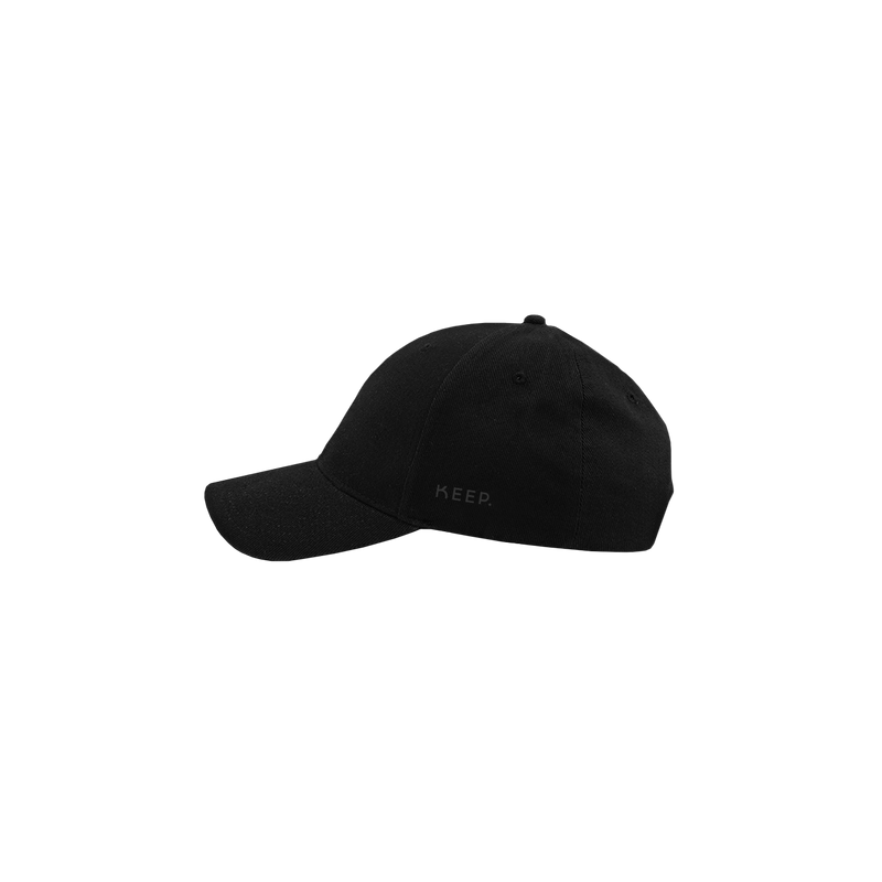 KEEP black 6 panel cap side view