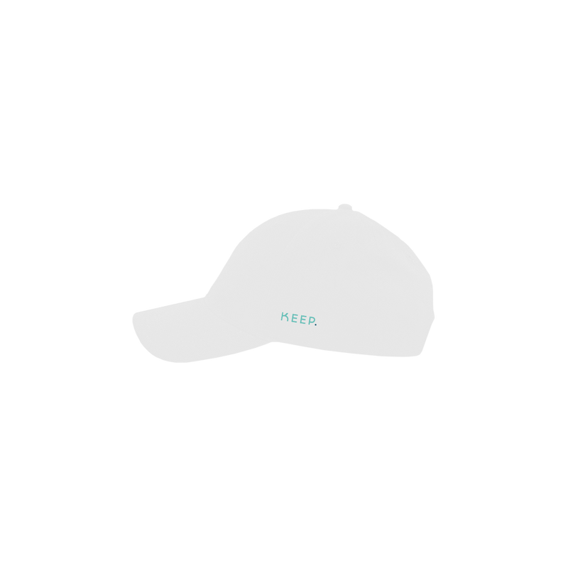 KEEP white 6 panel cap side view