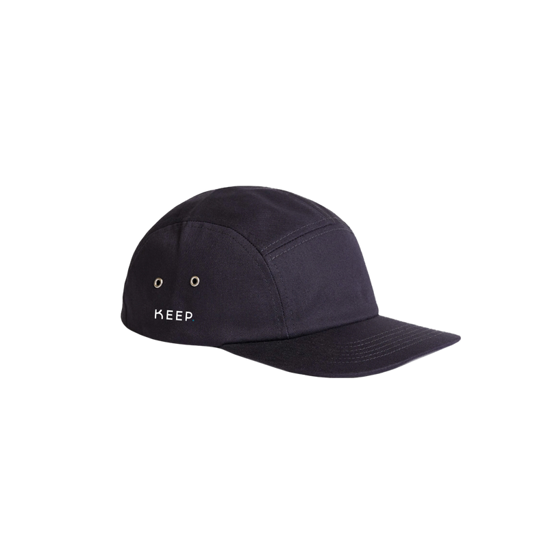 KEEP navy 5 panel cap side view