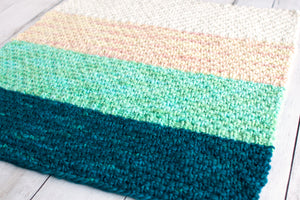Simple Bulky Moss Stitch Baby Blanket (F51)