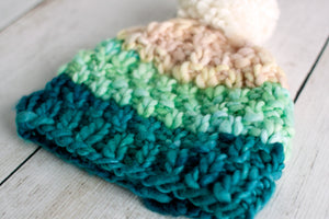Simple Bulky Moss Stitch Baby Hat (F52)