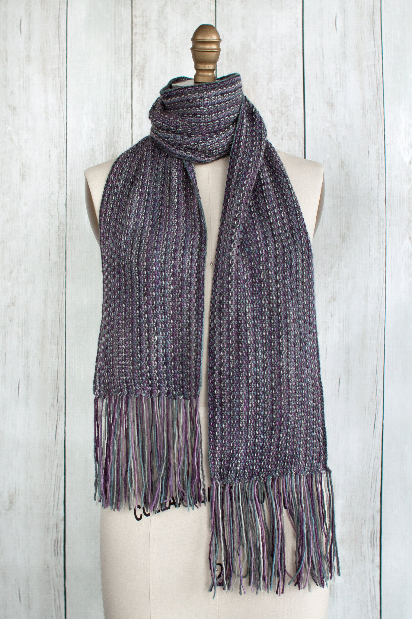 Knitted Fringed Violet Scarf in seed stitch