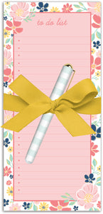 Pink Wildflower To-Do List Notepad & Pen Set