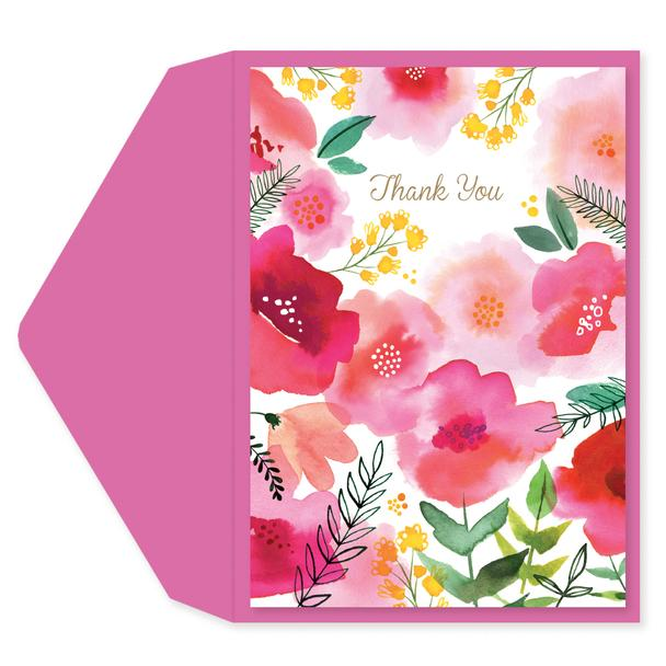 Thank You Card Pink Floral