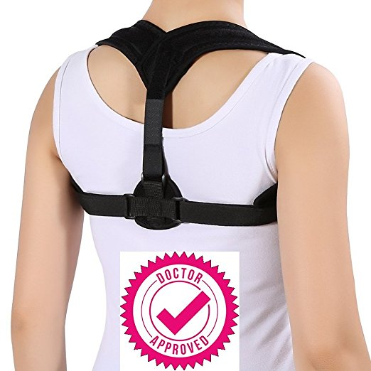 Posture Corrector for Upper Back pain--Rheumatologist Approved for Men & Women & Kids - Effective and Comfortable Adjustable Posture Corrector Brace - Posture Support - Clavicle Support - Upper Back Pain Relief with poor posture.