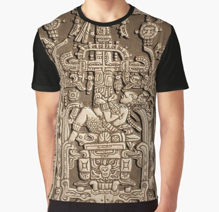 17f9a2c6c75e All Over Print T Shirt Men Funny tshirt Ancient Astronaut Pakal Maya  sarcophagus lid Graphic T