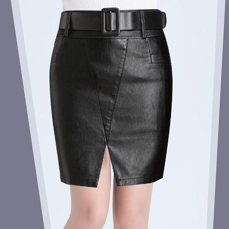 Sexy Winter Skirt High Waist Leather Pencil Black Skirt - GoFashional Store