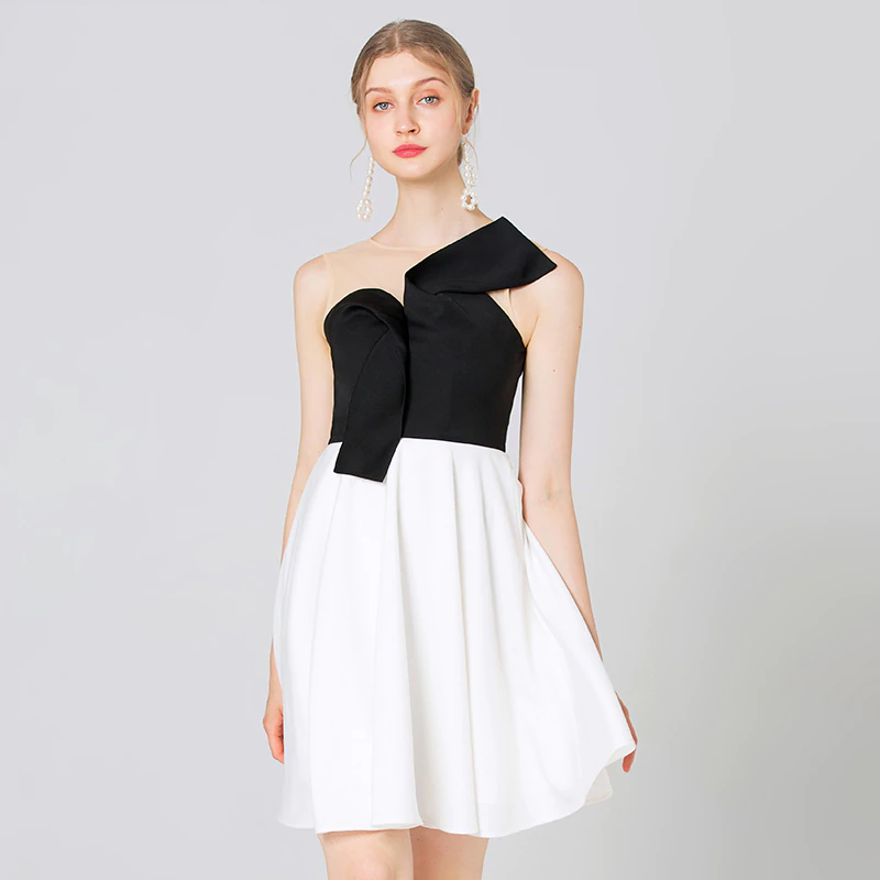 Fashion Black White Patchwork Party Dress