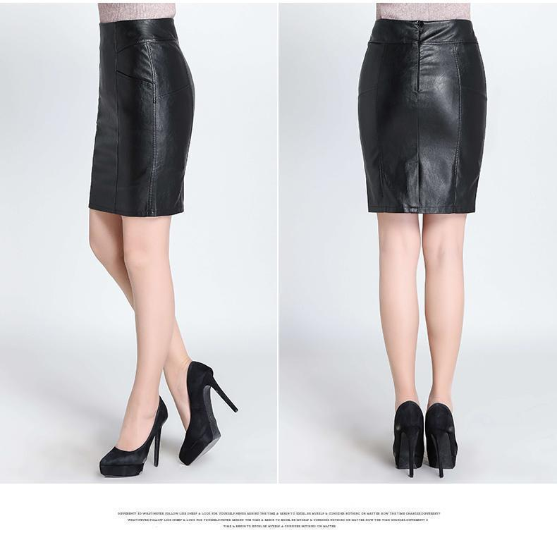 New 2017 Fashion High Quality Leather Skirt Black - GoFashional Store