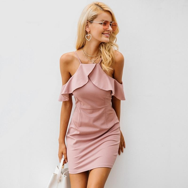 Off Shoulder Ruffle Sexy elegant party dresses - GoFashional Store