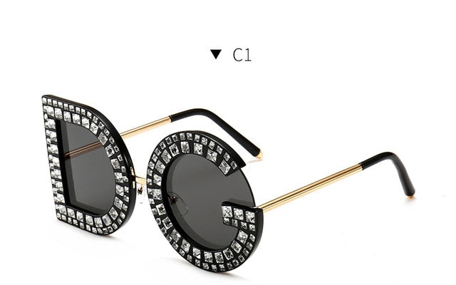 New Crystal Oversized Round DG Sunglasses