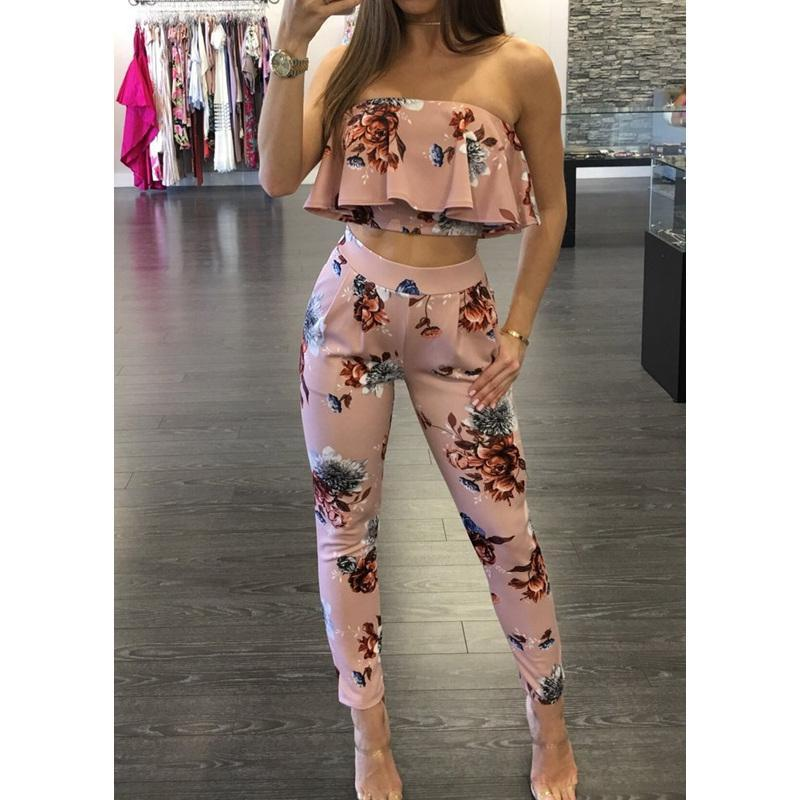 Two Piece Sexy Floral Backless Jumpsuit - GoFashional Store