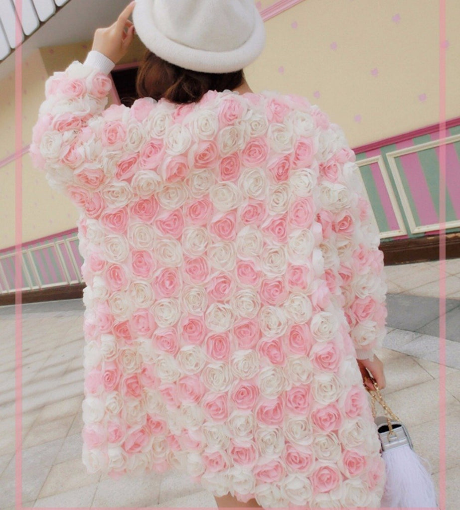 New 3D Flowers Cardigan Coat - GoFashional Store
