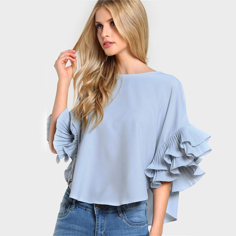 Pleated Ruffle Dolphin Round Neck Top - GoFashional Store