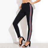 High Waist Casual Black Side Striped Trouser