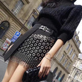 Elegant Mini metal ring leather skirt