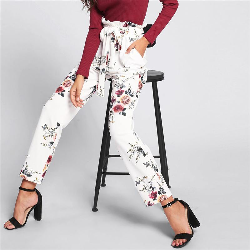 Elastic Waist Self Belted Floral Pant - Trouser - GoFashional Store