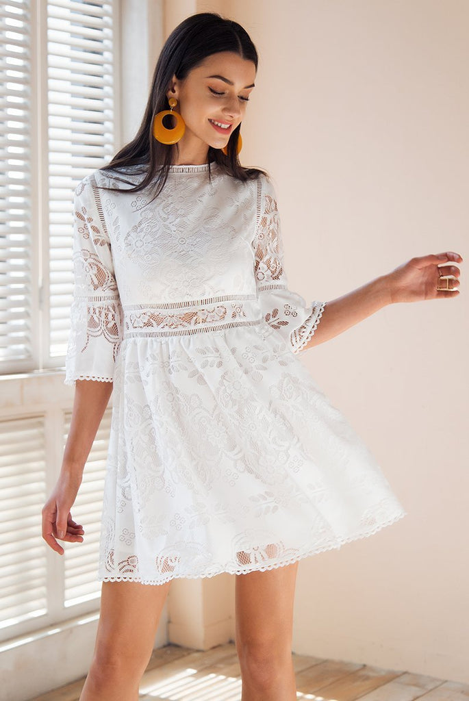 Hollow Out Lace Half Sleeve Casual White Dress - GoFashional Store