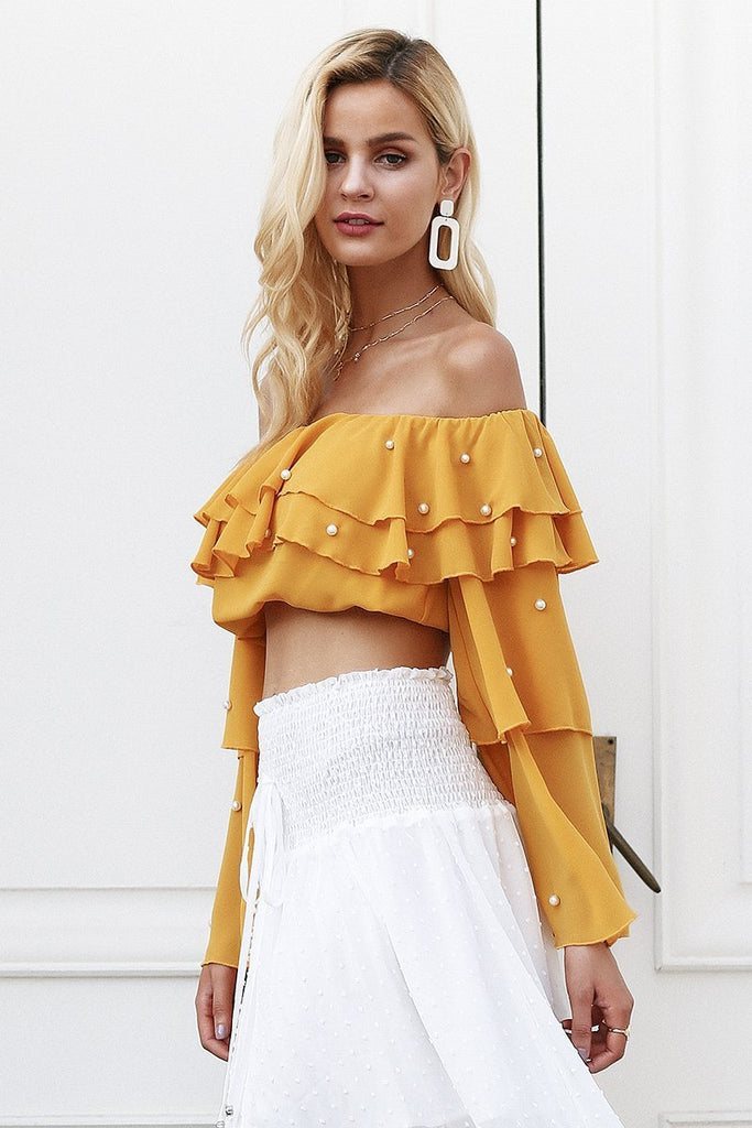 Sexy Off Shoulder Long Sleeve Top blouse - GoFashional Store