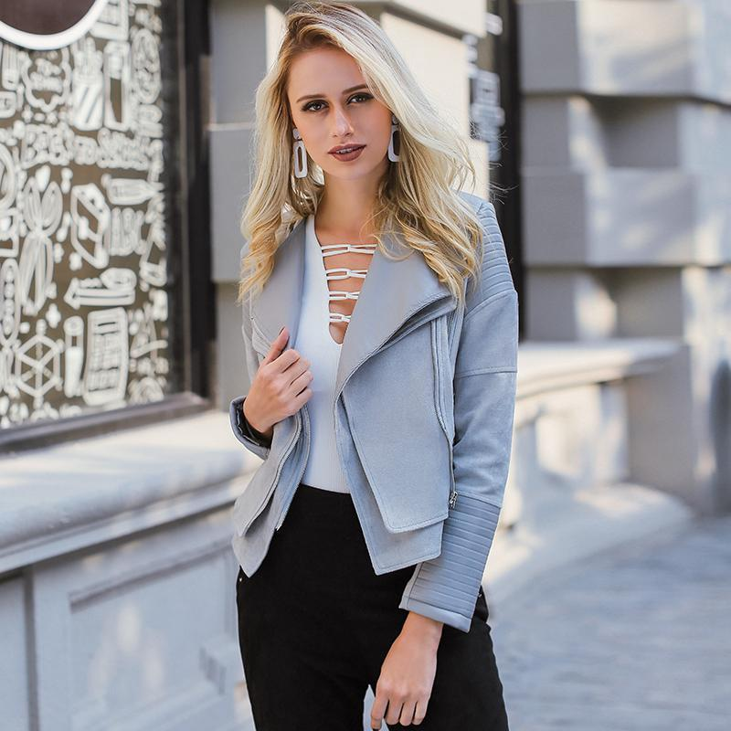 Adorable Gray Zipper Faux Leather Jacket - GoFashional Store