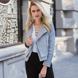 Adorable Gray Zipper Faux Leather Jacket