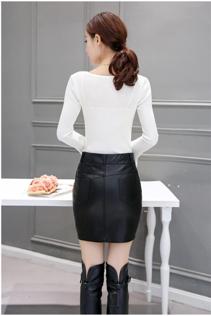 9becd5fa3d58 Sexy High Quality fashion leather skirt - GoFashional Store