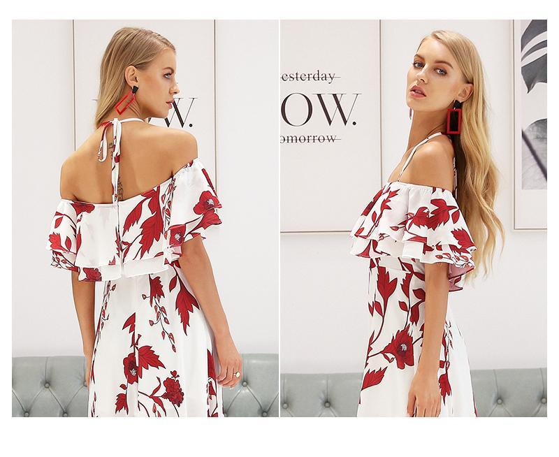 Sexy off shoulder floral print long dress - GoFashional Store