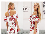 Sexy off shoulder floral print long dress