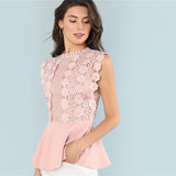 Adorable Pink Solid Ruffle Casual Blouse