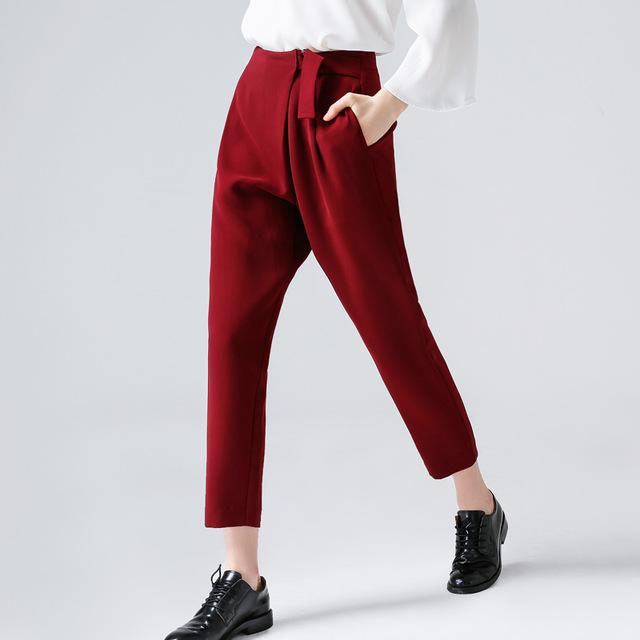 Casual Harem Pants Midwaist Belt Trouser - GoFashional Store