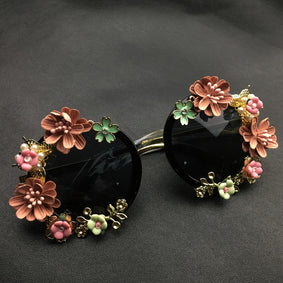 New Fashion Baroque Flower Sunglasses