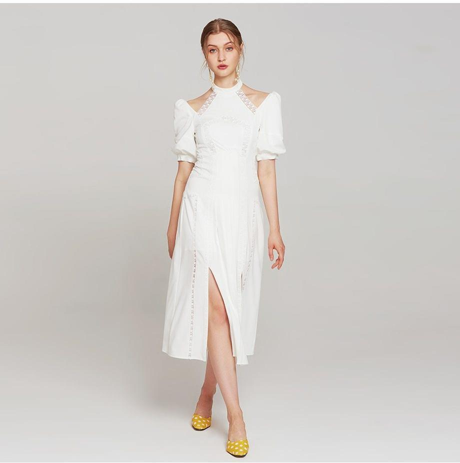 Elegant White Halter Lantern Sleeve Dress