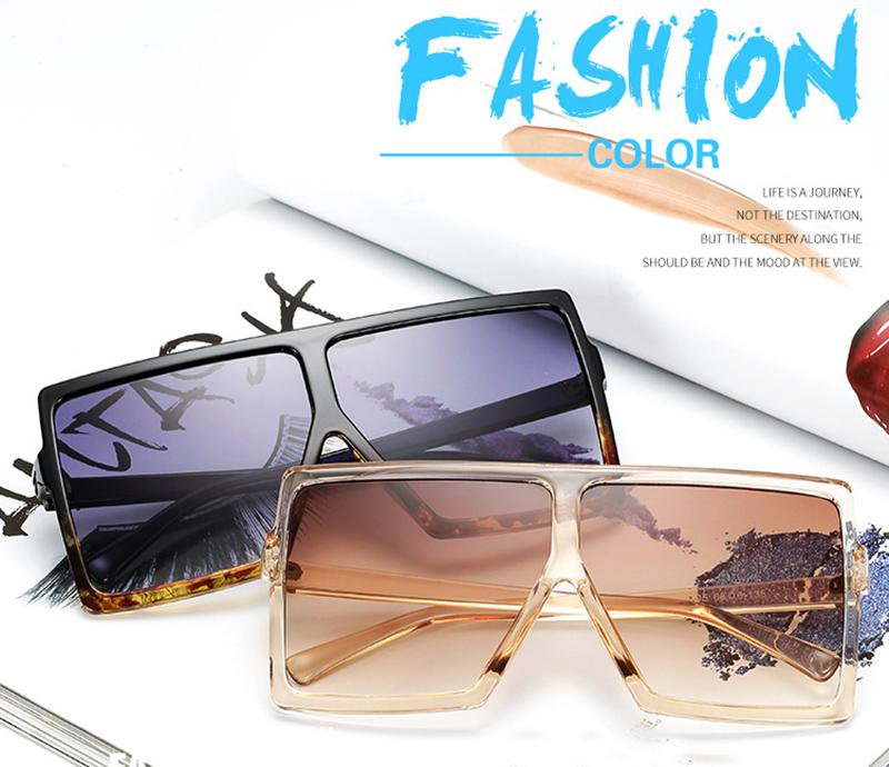 Oversize Flat Top Square Gradient Lens Shades - GoFashional Store