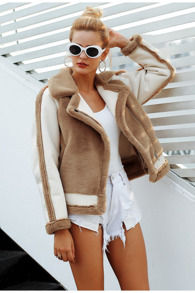 Autumn Winter Soft Zipper Faux Fur Jacket - GoFashional Store