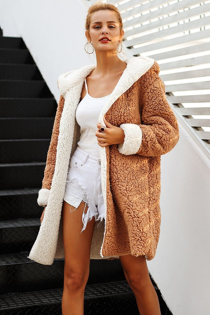 Casual Faux Fur Plus Size Warm Overcoat - GoFashional Store