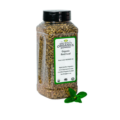 High Quality Organics Express Basil Leaf Jar