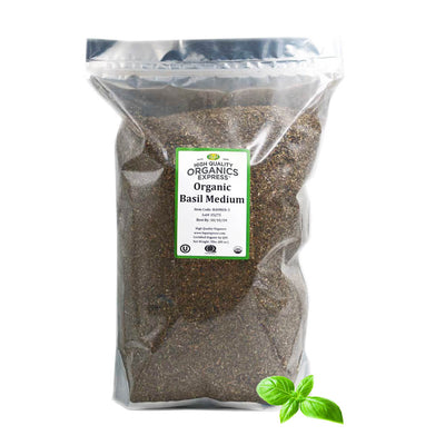 High Quality Organics Express Basil Leaf Resealable Bag