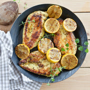 High Quality Organics Express Oregano Chicken with Lemon on plate