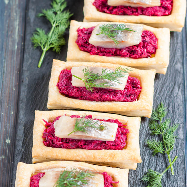 High Quality Organics Express Beetroot Powder dip on puff pastry with dill