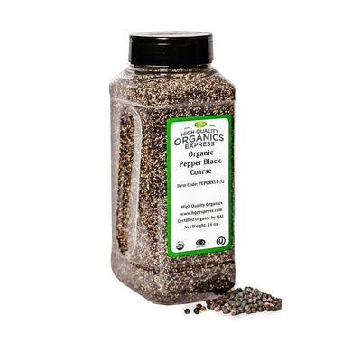 High Quality Organics Express Black Pepper Coarse 14 Mesh Jar