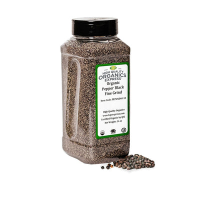 High Quality Organics Express Black Pepper Fine Grind 40 Mesh Jar