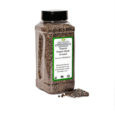 High Quality Organics Express Black Pepper Medium Grind 28 Mesh Jar